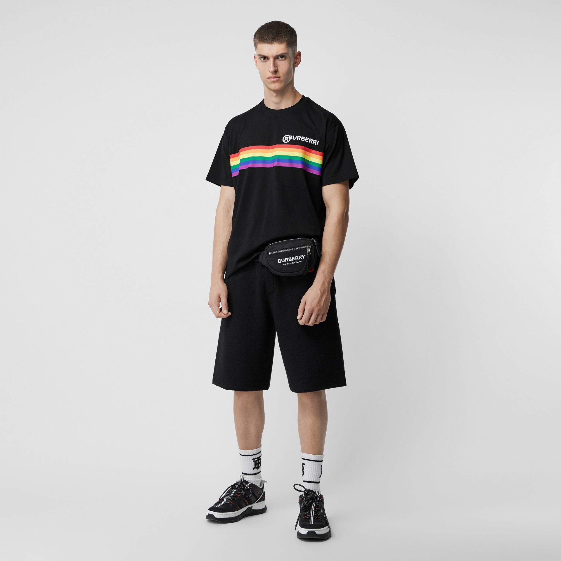Rainbow Stripe Print Cotton Oversized T-shirt in Black - Men | Burberry - gallery image 0