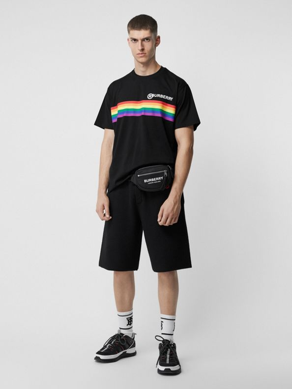 Rainbow Stripe Print Cotton Oversized T-shirt in Black