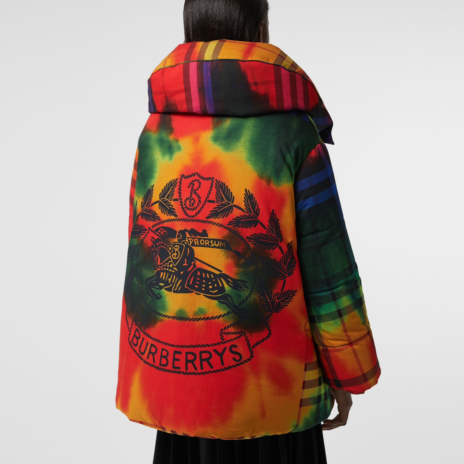 Tie-dye Vintage Check Down-filled Puffer Coat in Bright Red - Women | Burberry - gallery image 1