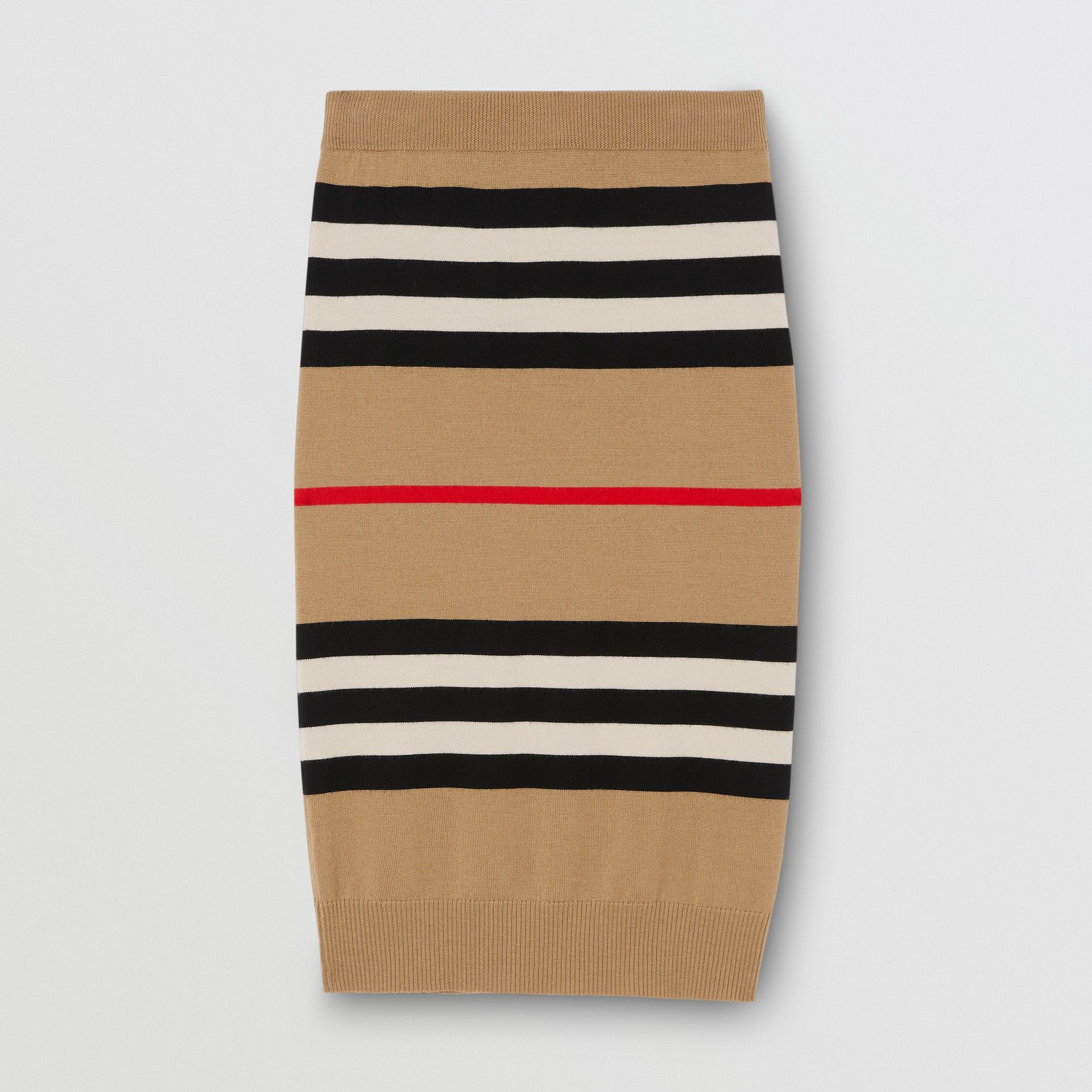 Icon Stripe Merino Wool Pencil Skirt in Archive Beige - Women | Burberry - gallery image 3