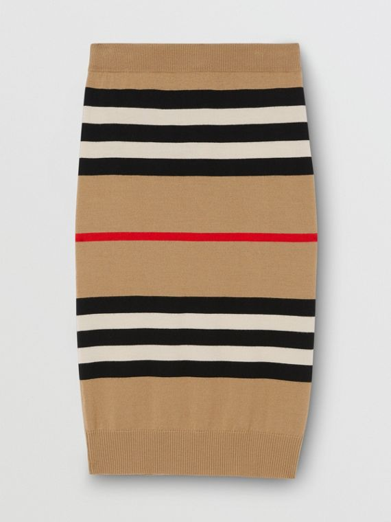 Icon Stripe Merino Wool Pencil Skirt in Archive Beige