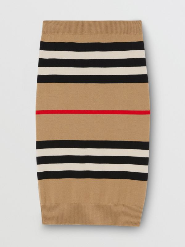 Icon Stripe Merino Wool Pencil Skirt in Archive Beige - Women | Burberry - cell image 3