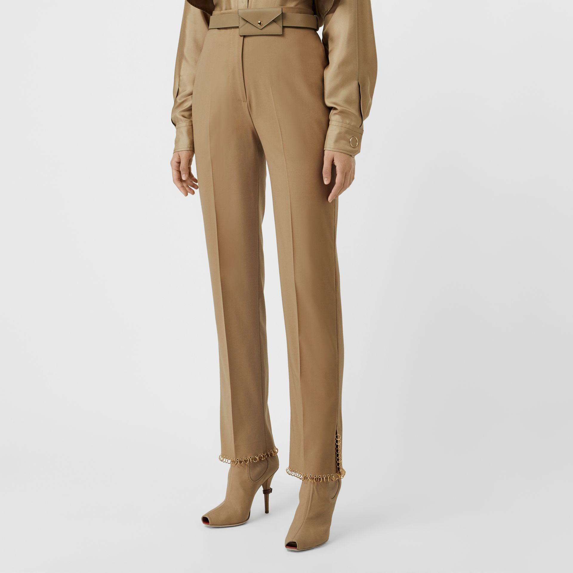 Ring-pierced Wool Trousers in Honey - Women | Burberry - gallery image 0