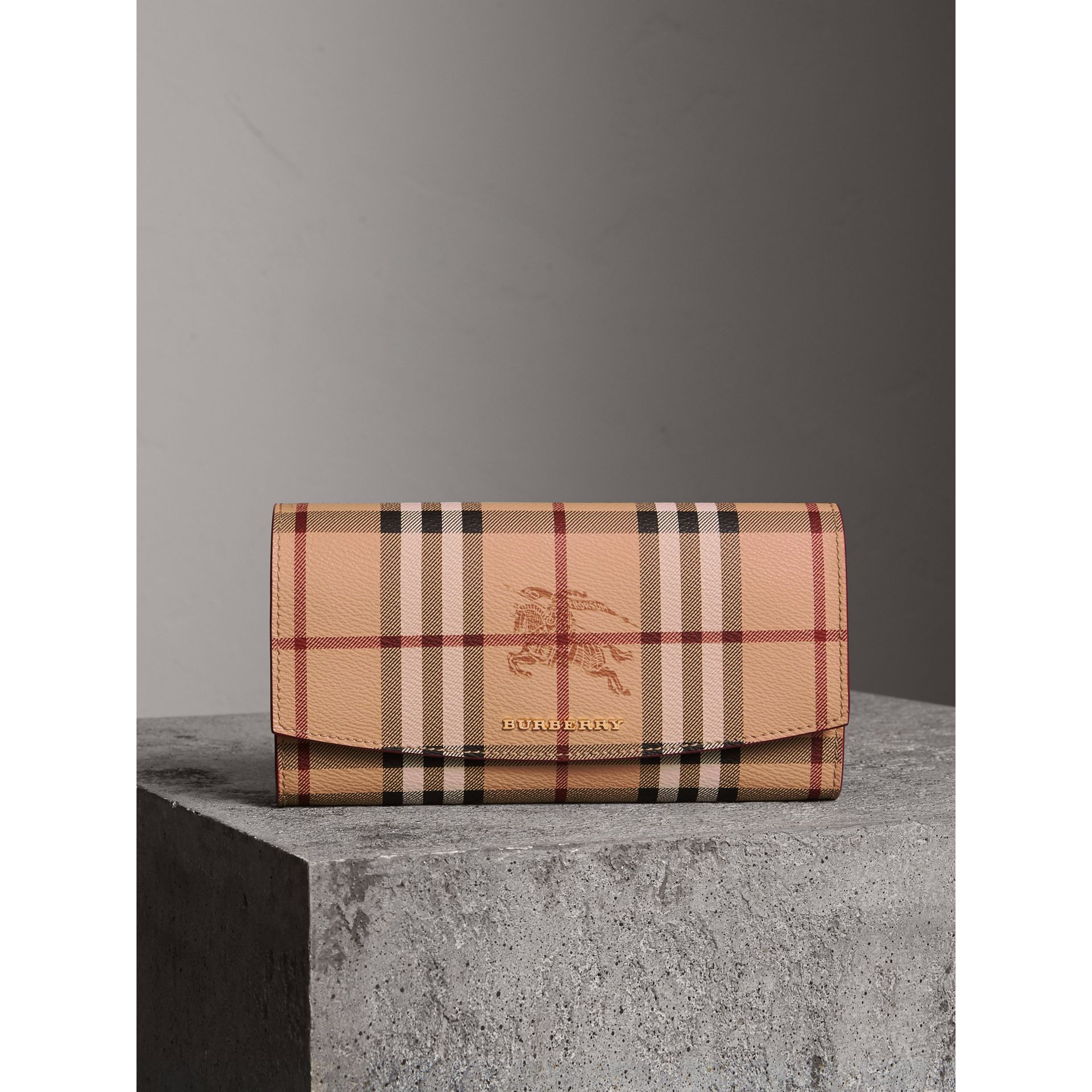 Haymarket Check and Leather Continental Wallet in Plum Pink - Women | Burberry Australia - gallery image 5