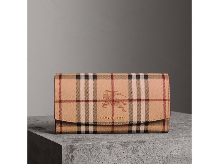 Haymarket Check and Leather Continental Wallet in Plum Pink - Women | Burberry Australia - cell image 4
