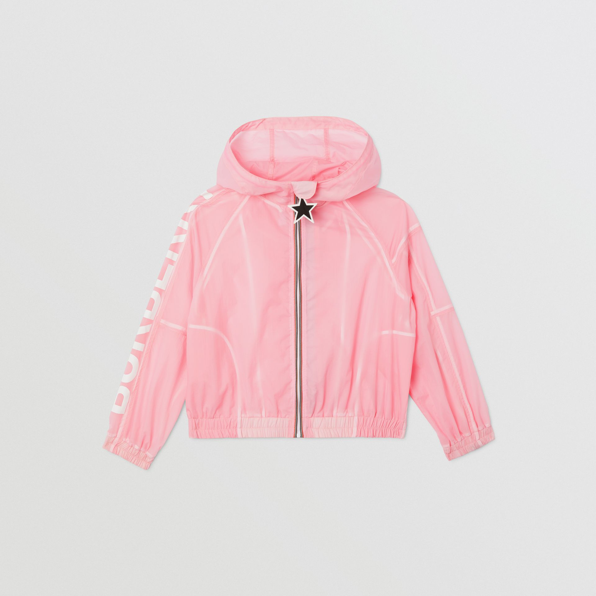 Star Detail Logo Print Lightweight Hooded Jacket in Candy Pink | Burberry - gallery image 0
