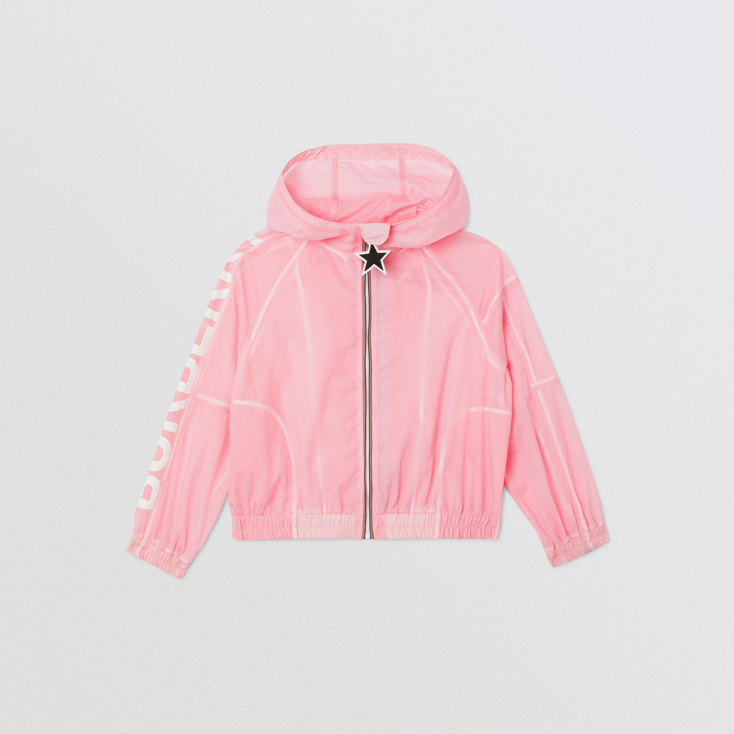 Star Detail Logo Print Lightweight Hooded Jacket in Candy Pink | Burberry - 1