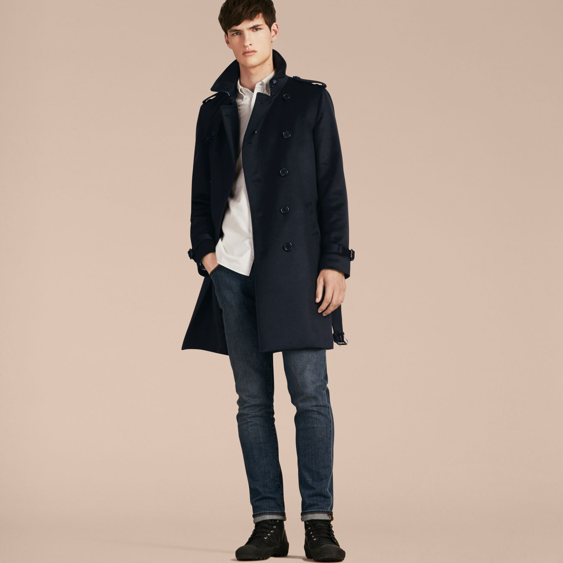 Marine Trench-coat en cachemire Marine - photo de la galerie 7