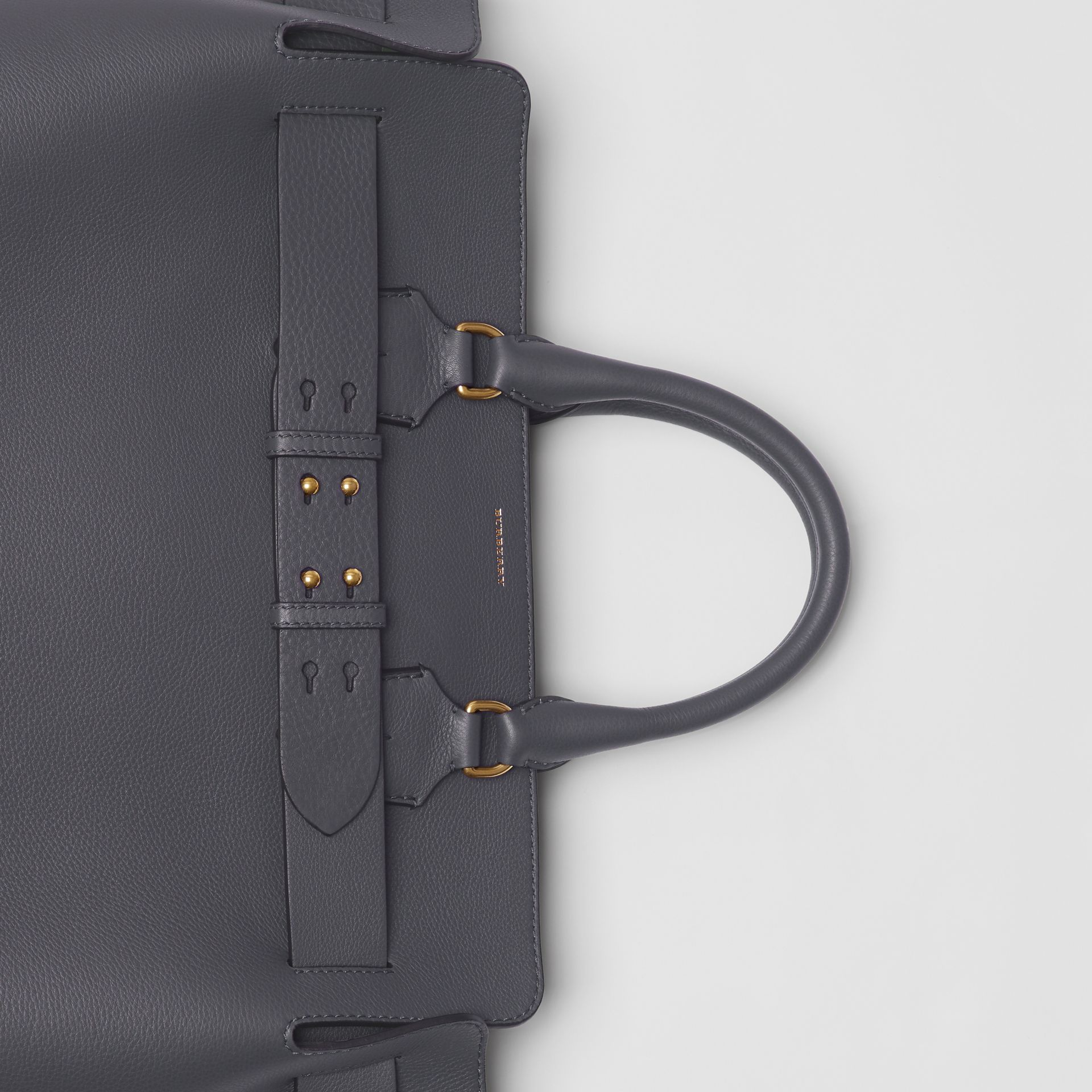 The Large Leather Belt Bag in Charcoal Grey | Burberry Australia - gallery image 1