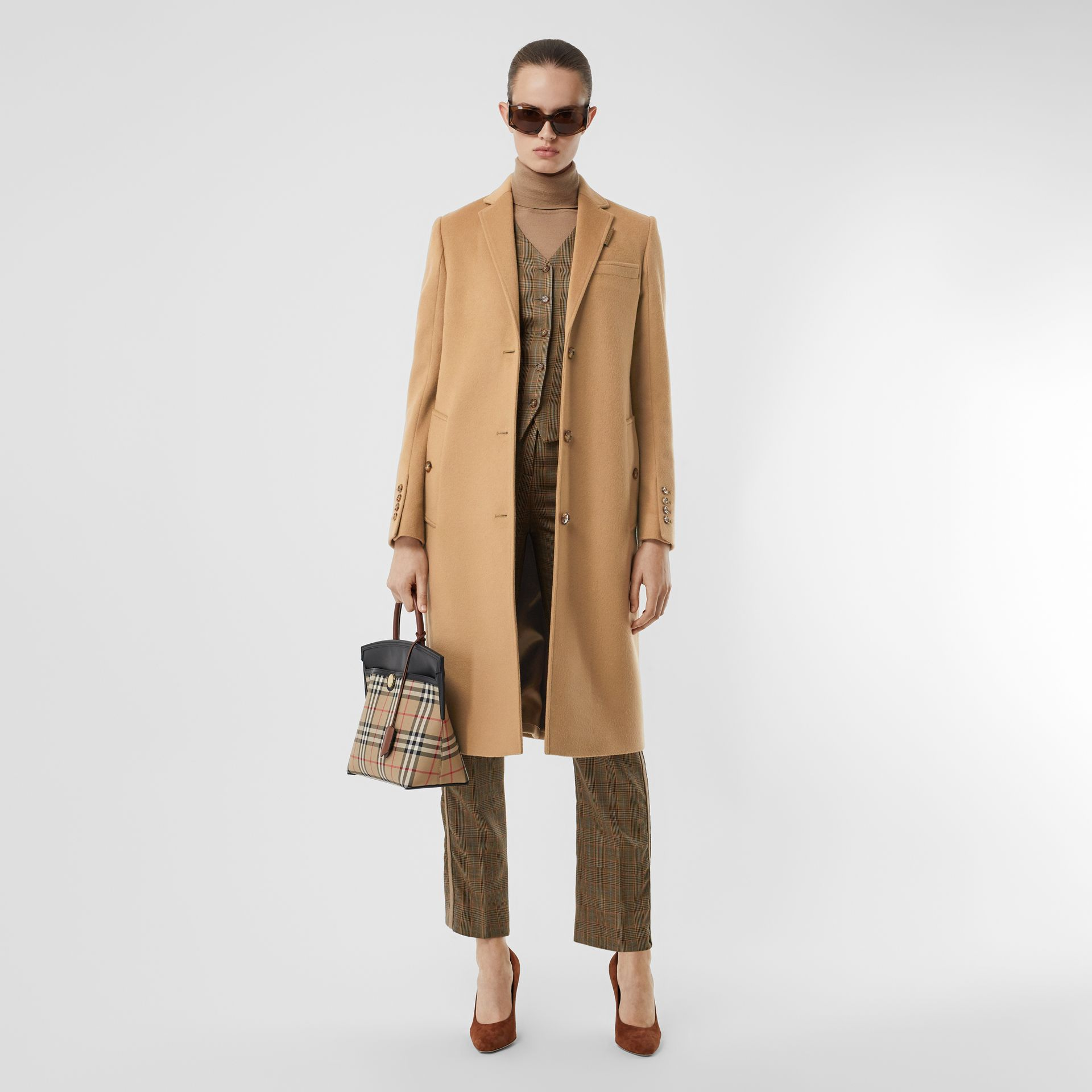Wool Cashmere Tailored Coat in Light Camel - Women | Burberry - gallery image 0