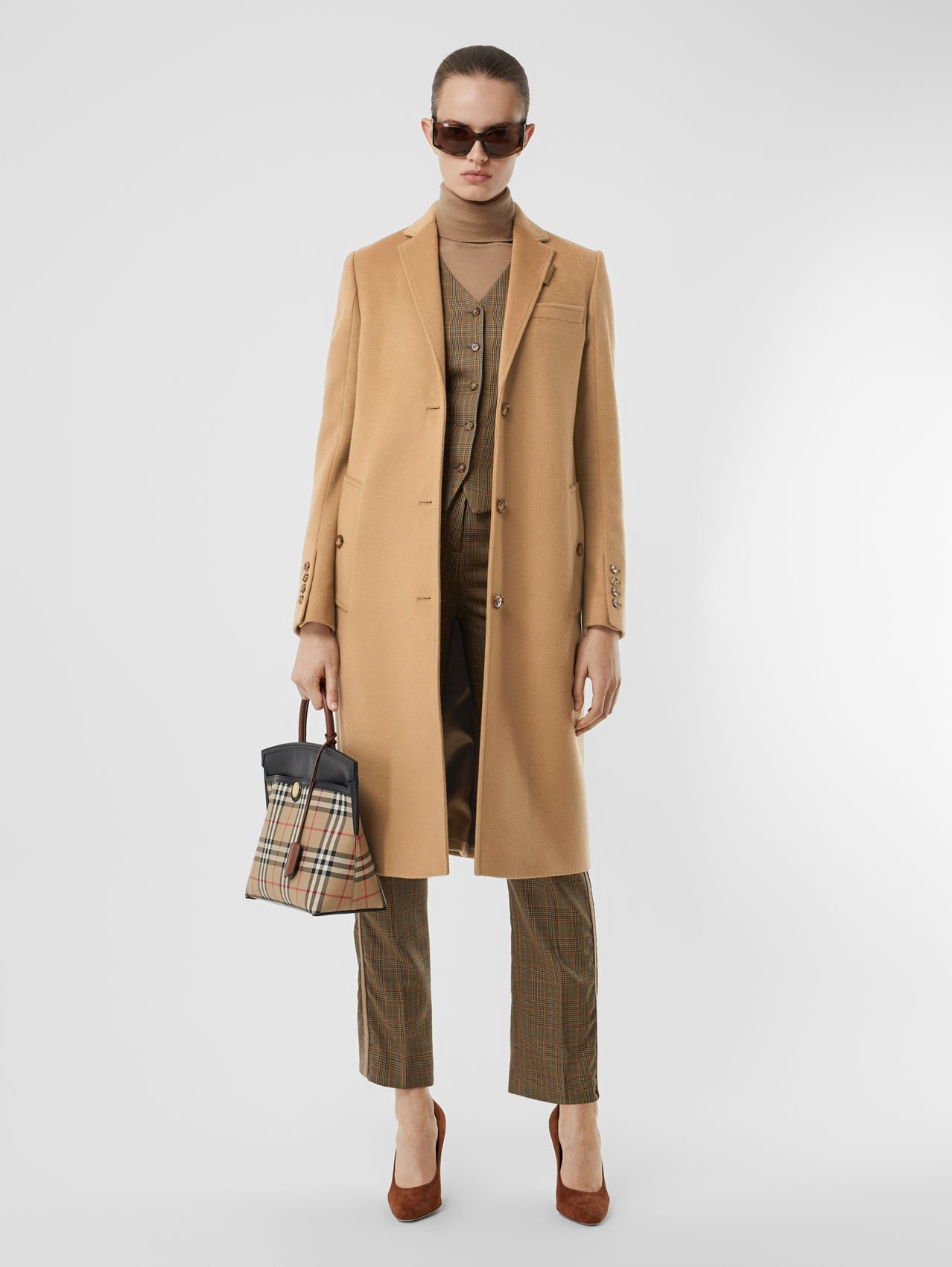 Wool Cashmere Tailored Coat (Light Camel)