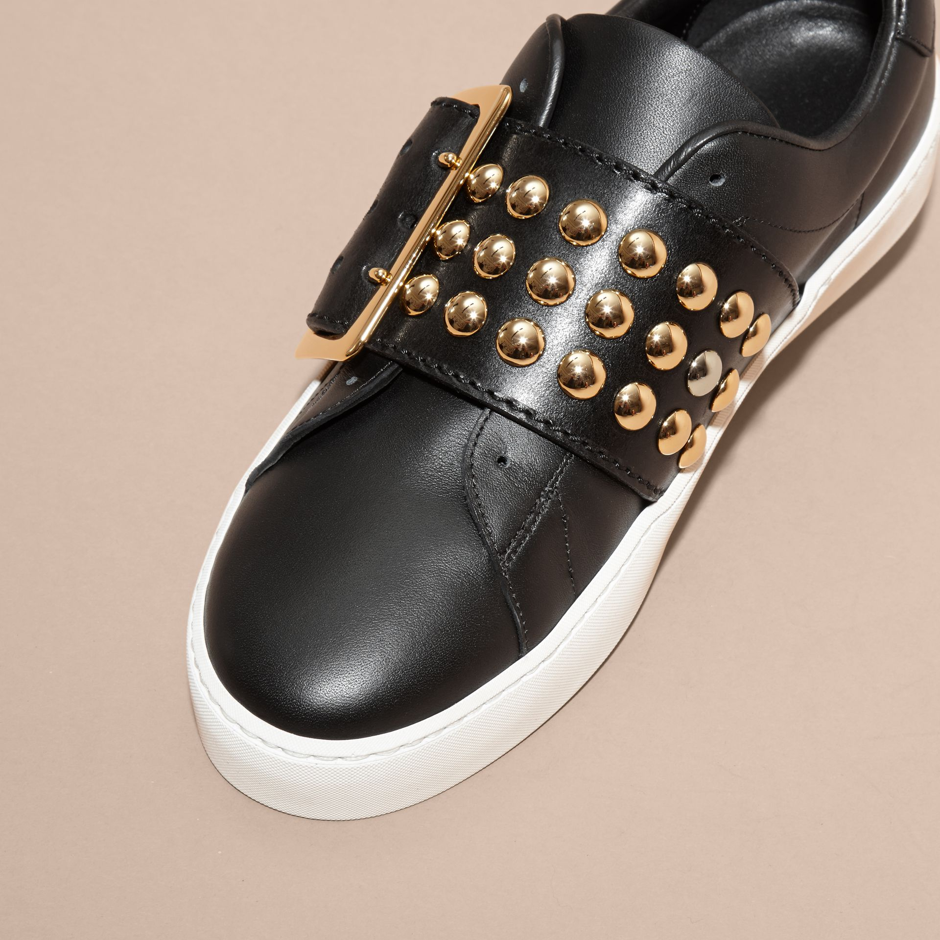 Black Oversize Buckle and Stud Detail Leather Trainers - gallery image 3