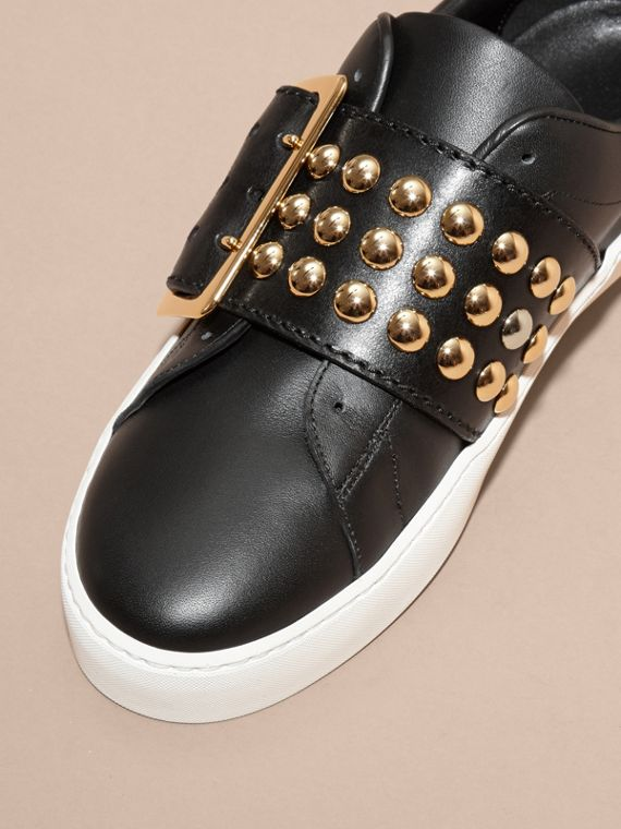 Black Oversize Buckle and Stud Detail Leather Trainers - cell image 2