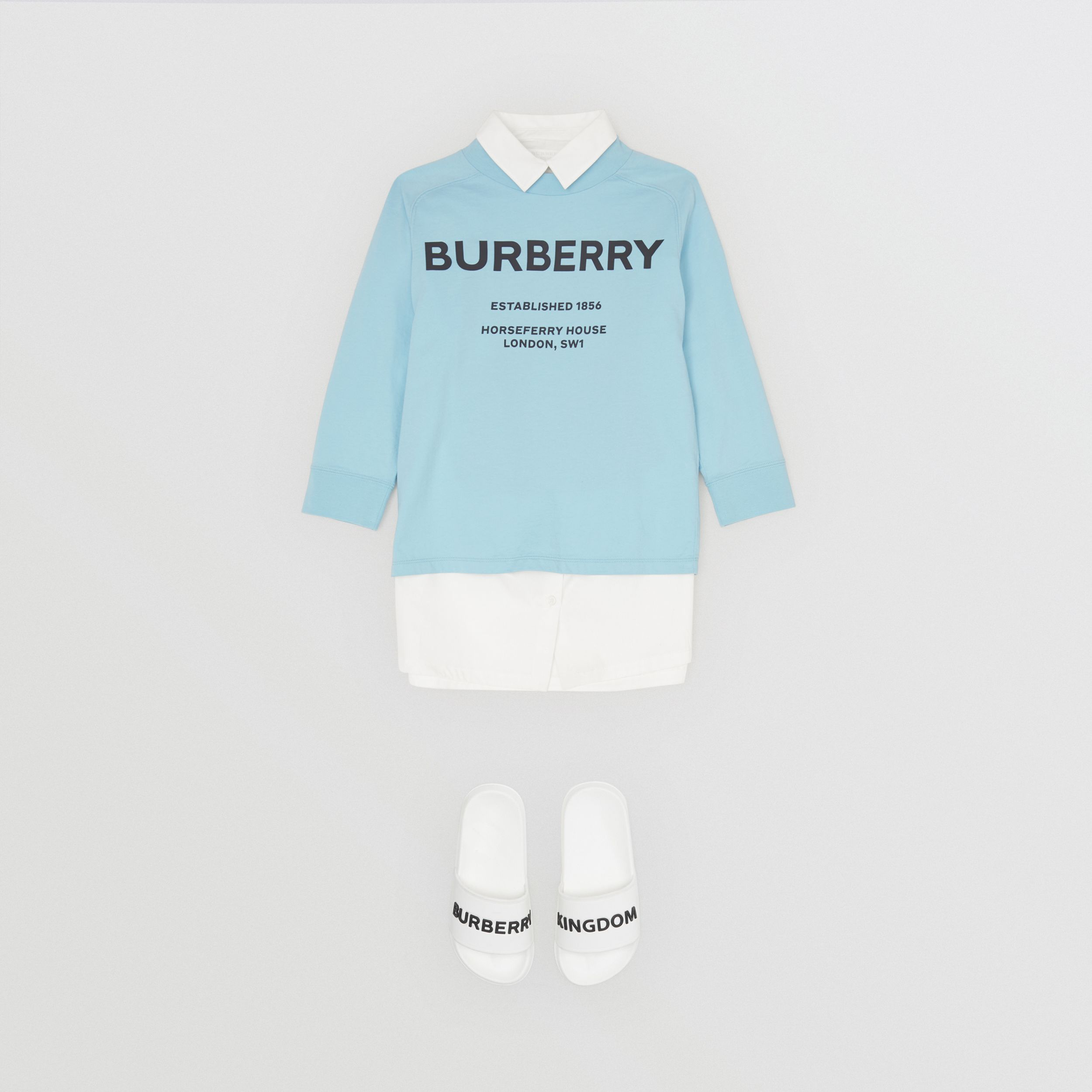 Long-sleeve Horseferry Print Cotton Top in Powder Blue | Burberry - 3