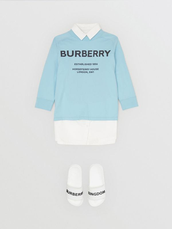 Long-sleeve Horseferry Print Cotton Top in Powder Blue | Burberry - cell image 2