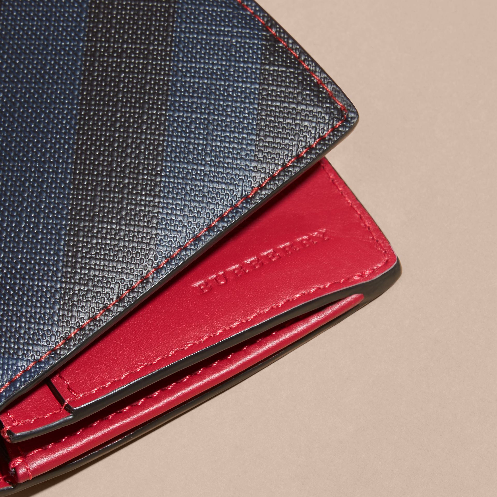 London Check and Leather Continental Wallet in Parade Red - gallery image 2