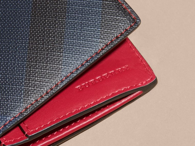 London Check and Leather Continental Wallet in Parade Red - cell image 1