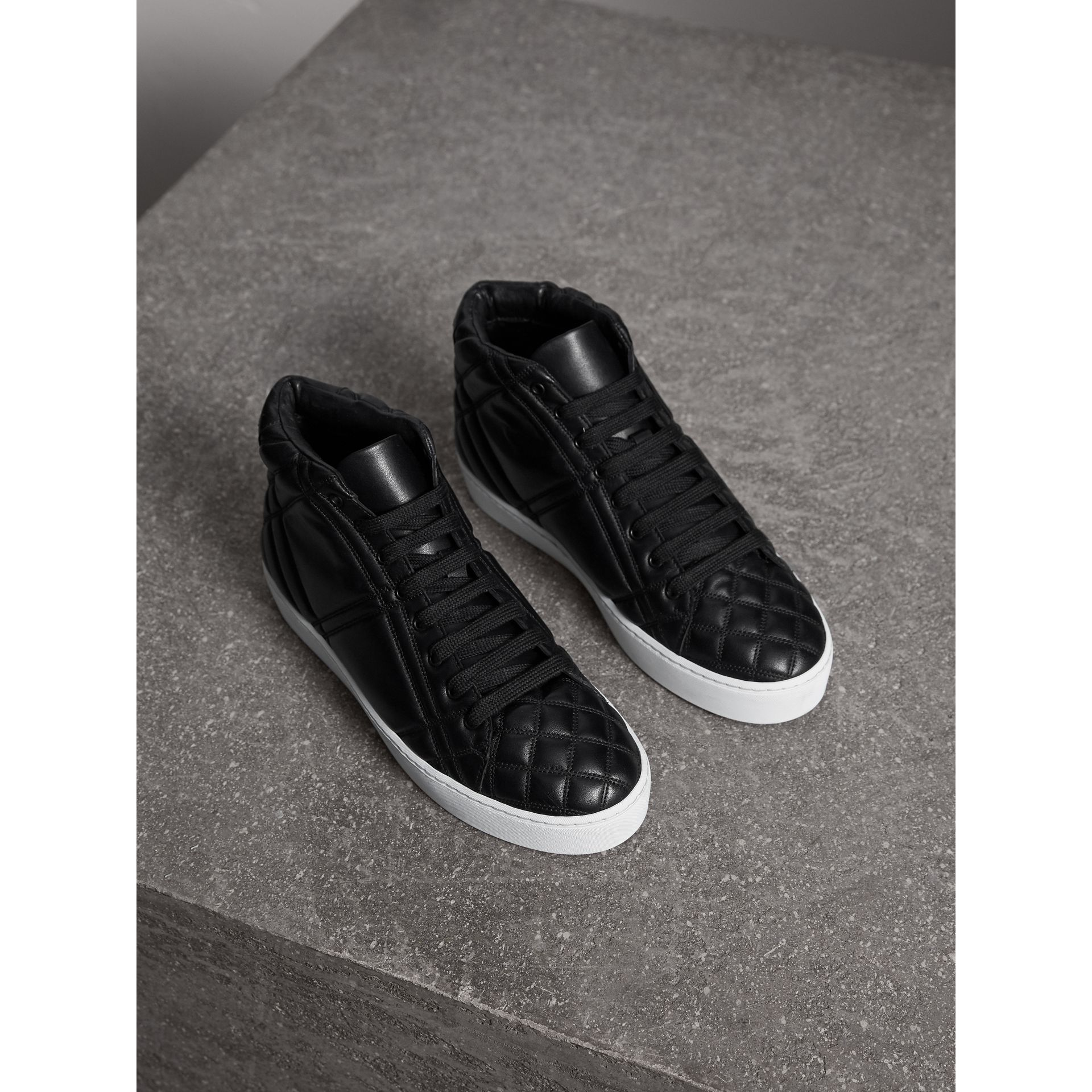 Check-quilted Leather High-top Trainers in Black - Women | Burberry Singapore - gallery image 1