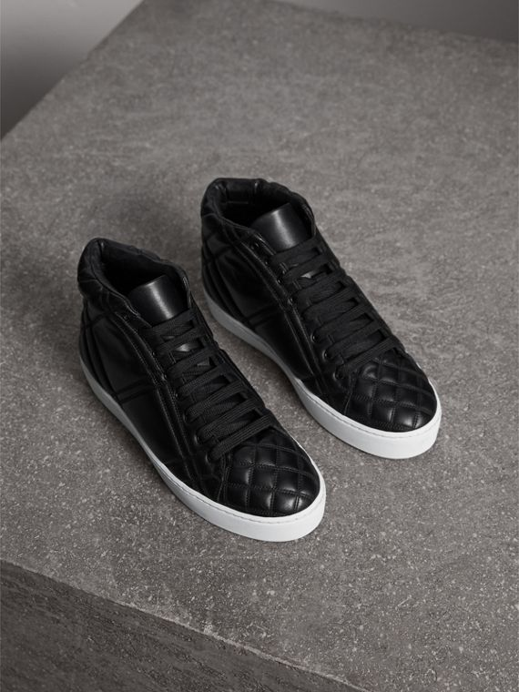 Check-quilted Leather High-top Trainers in Black - Women | Burberry Canada