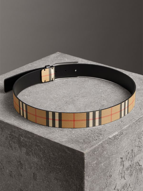 Plaque Buckle Vintage Check Leather Belt in Black - Men | Burberry - cell image 3