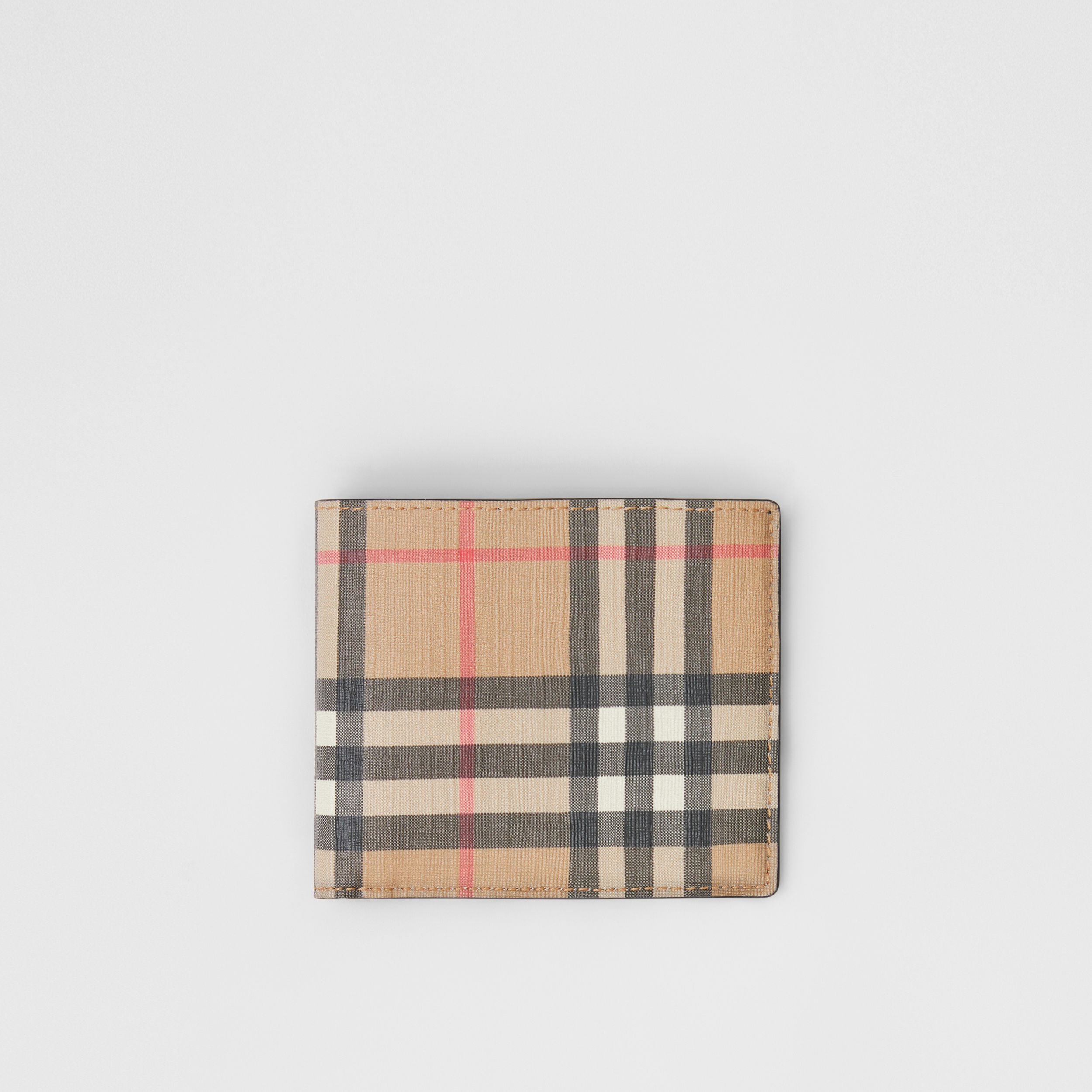 Vintage Check E-canvas International Bifold Wallet in Archive Beige - Men | Burberry Canada - 1
