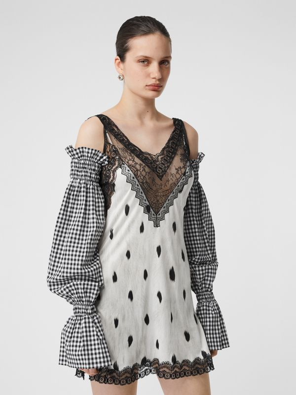 Gingham Cotton Puff Sleeves in Black - Women | Burberry - cell image 2