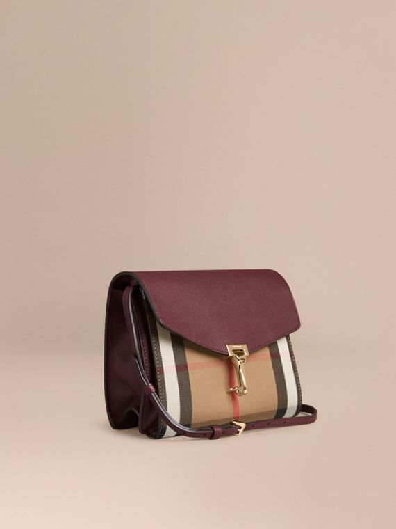Bolsa transversal pequena de couro com estampa House Check Vermelho Mogno