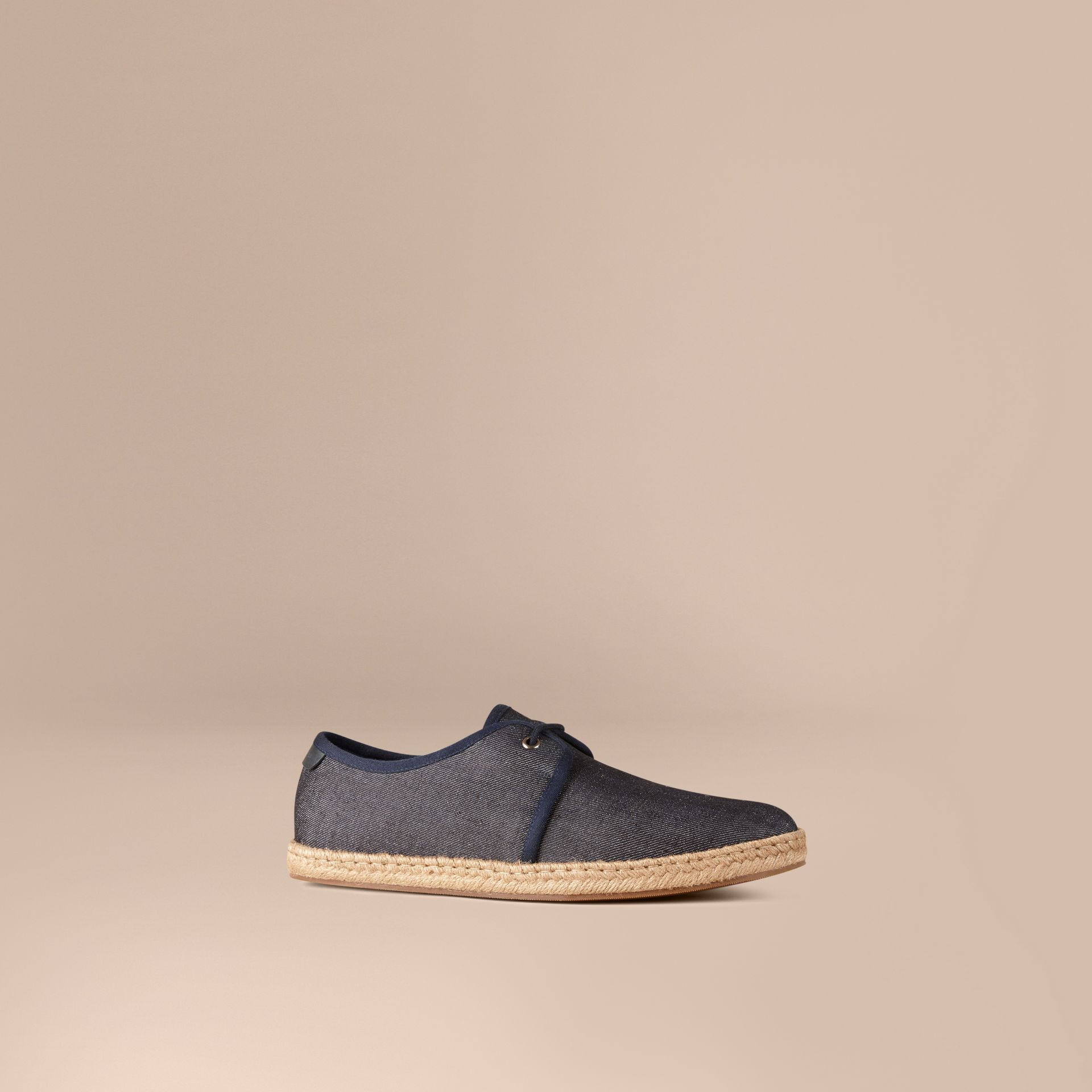 Navy Japanese Linen Lace-up Espadrilles Navy - gallery image 1