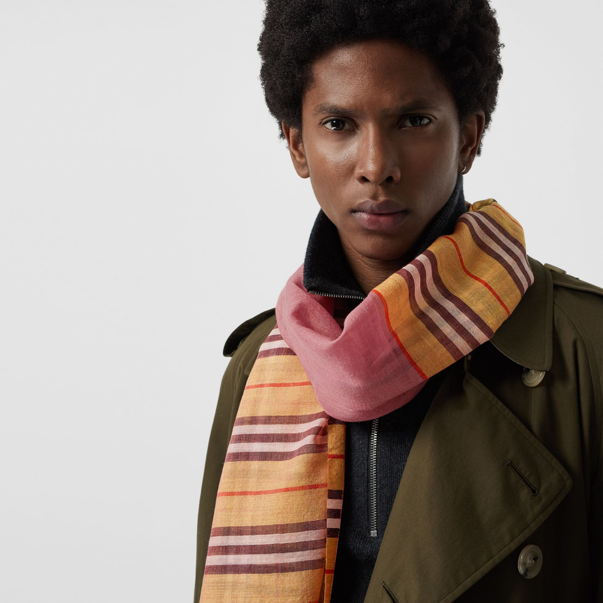 Vintage Check and Colour Block Wool Silk Scarf in Rose Pink | Burberry Australia - gallery image 4