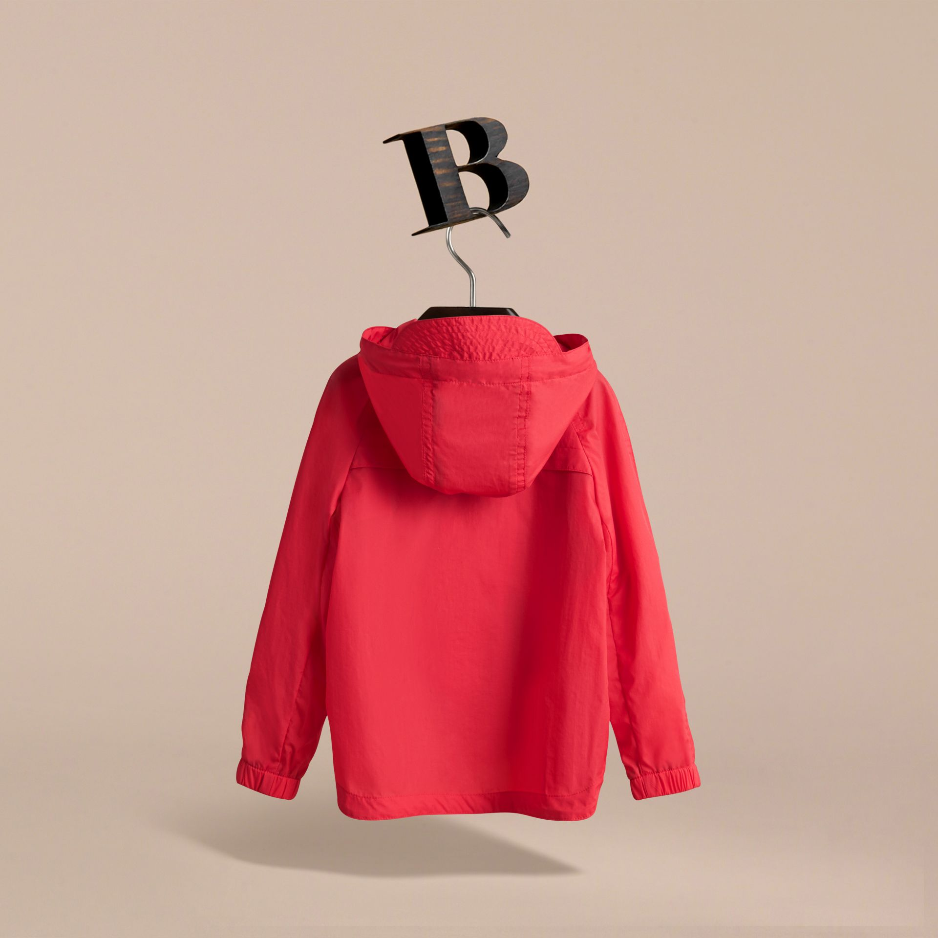 Showerproof Hooded Technical Jacket in Vibrant Red - Boy | Burberry - gallery image 4