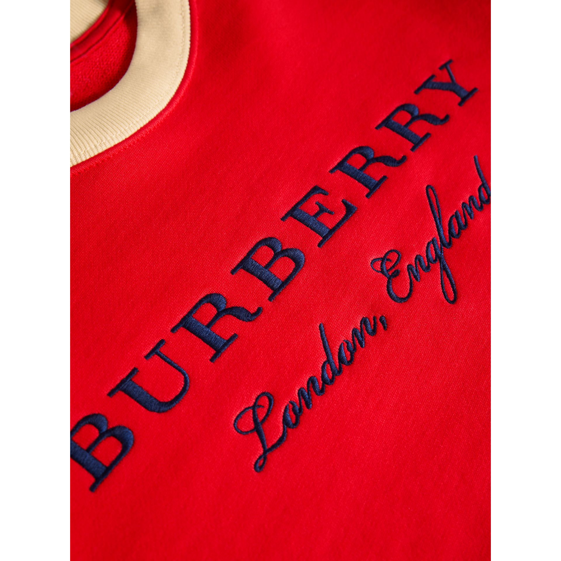Striped Hem Embroidered Cotton Jersey Sweatshirt in Bright Orange Red - Girl | Burberry - gallery image 1