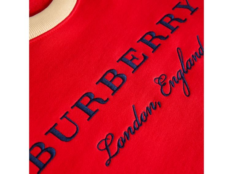 Striped Hem Embroidered Cotton Jersey Sweatshirt in Bright Orange Red - Girl | Burberry - cell image 1