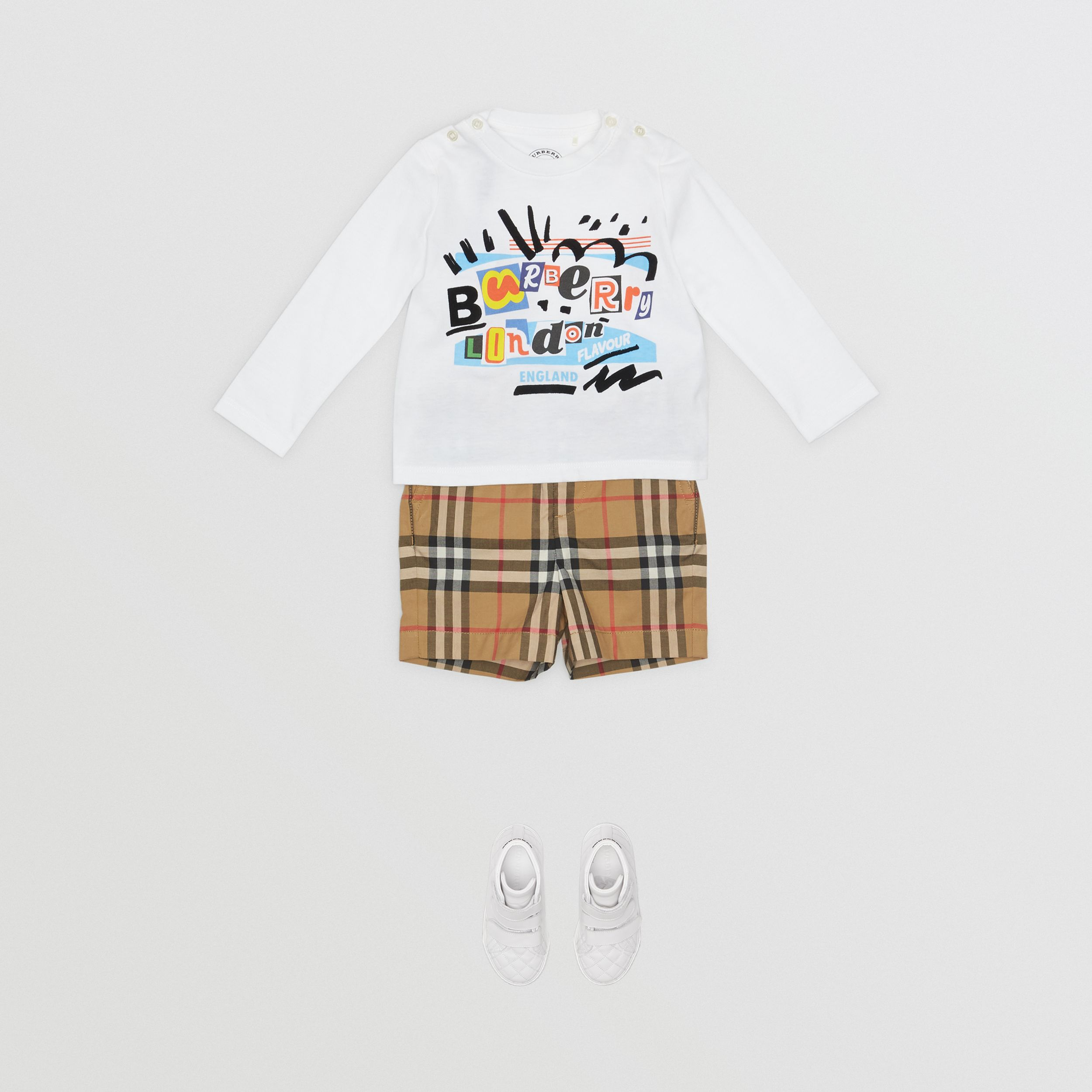 Vintage Check Cotton Tailored Shorts in Antique Yellow - Children | Burberry - 3
