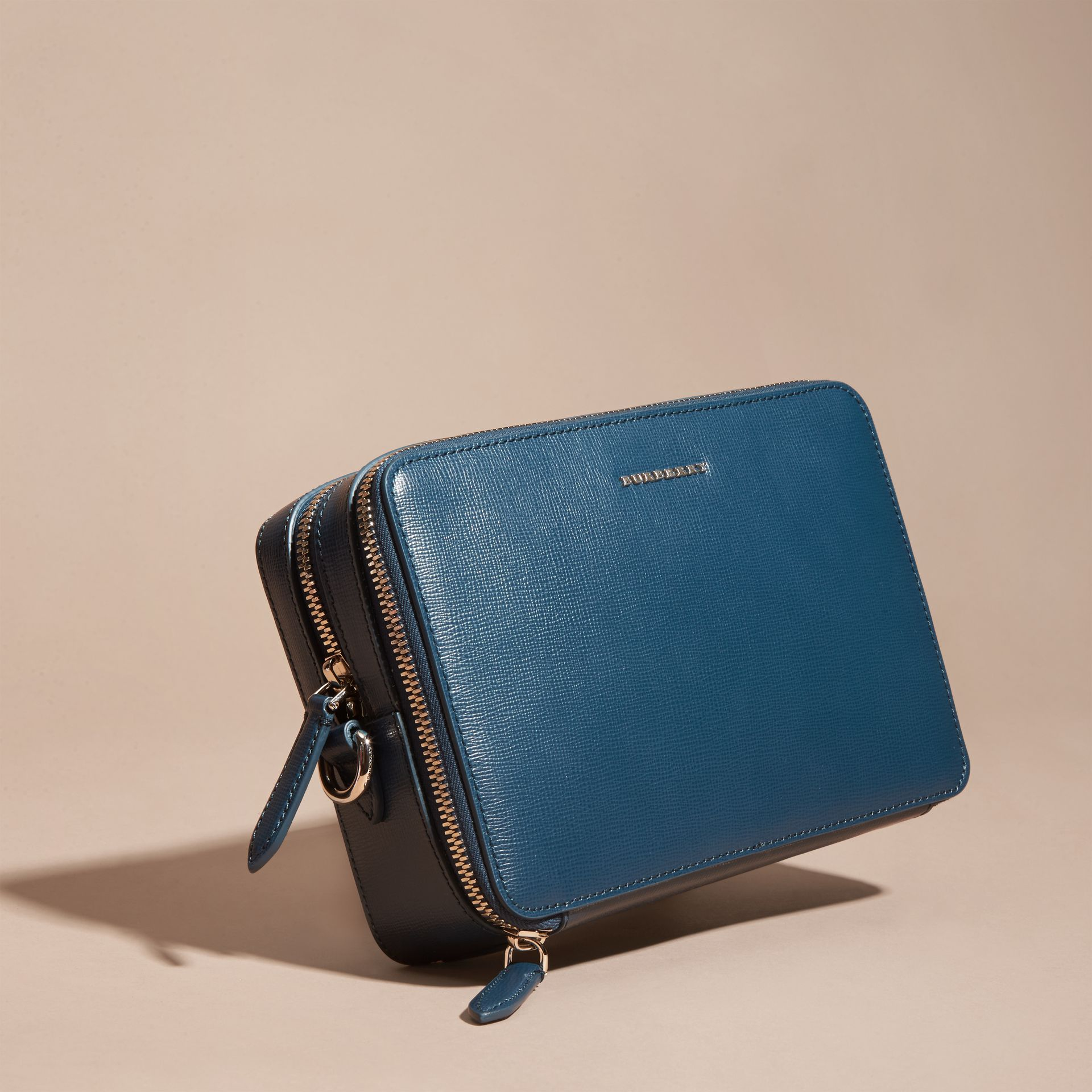 Mineral blue London Leather Pouch Mineral Blue - gallery image 5