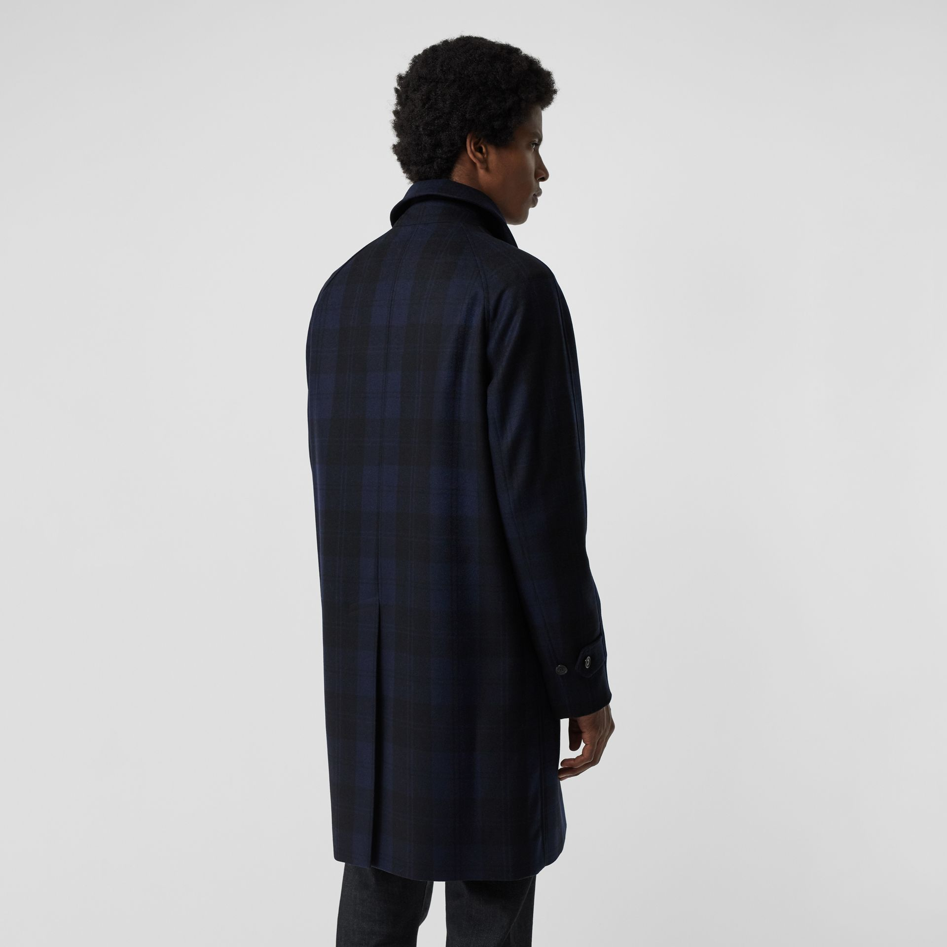 Check Cashmere Car Coat in Navy - Men | Burberry - gallery image 2