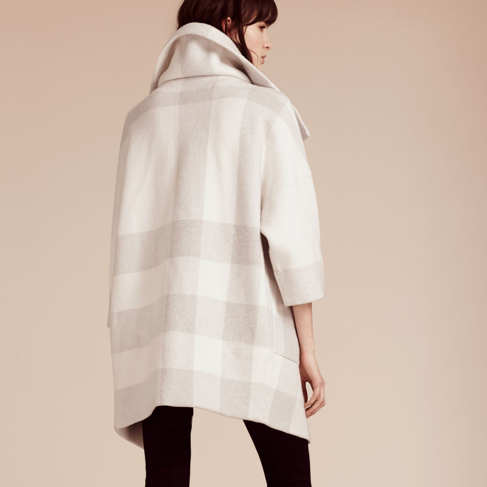 Natural white Oversize Stretch Wool Cashmere Wide Collar Coat Natural White - gallery image 3