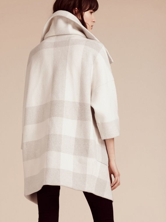 Oversize Stretch Wool Cashmere Wide Collar Coat in Natural White - cell image 2