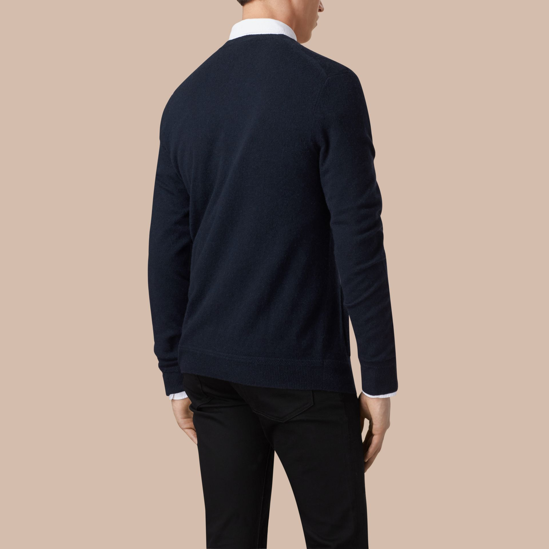 V-Neck Cashmere Cardigan in Navy - gallery image 3