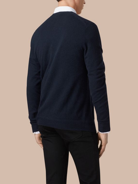 Navy V-Neck Cashmere Cardigan Navy - cell image 2