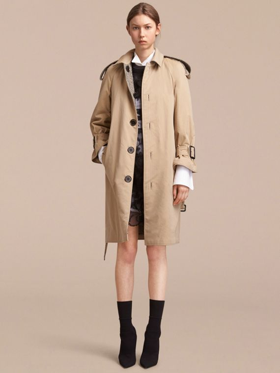 Trench-coat en gabardine et tweed de Donegal réversible - Femme | Burberry