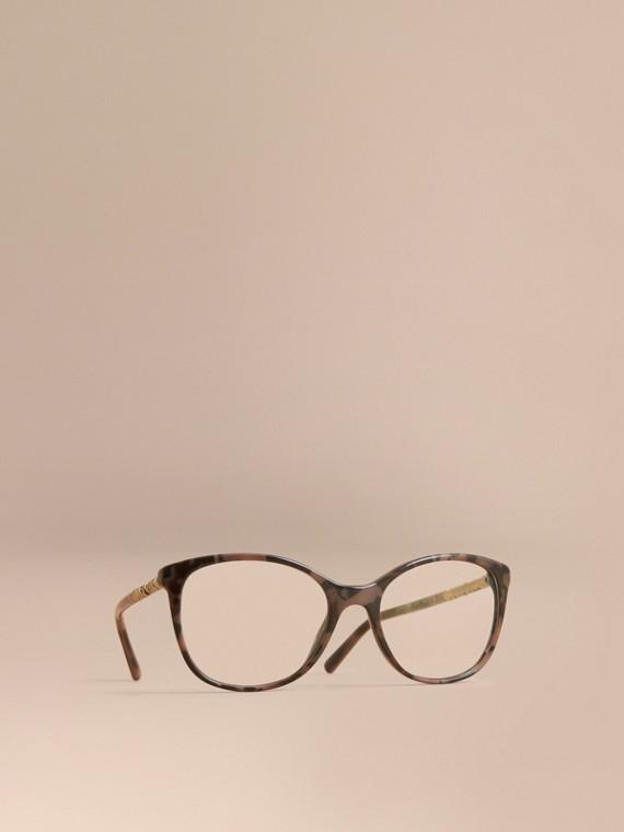 Brille mit rundem Gestell und Karodetail Schildpattfarben