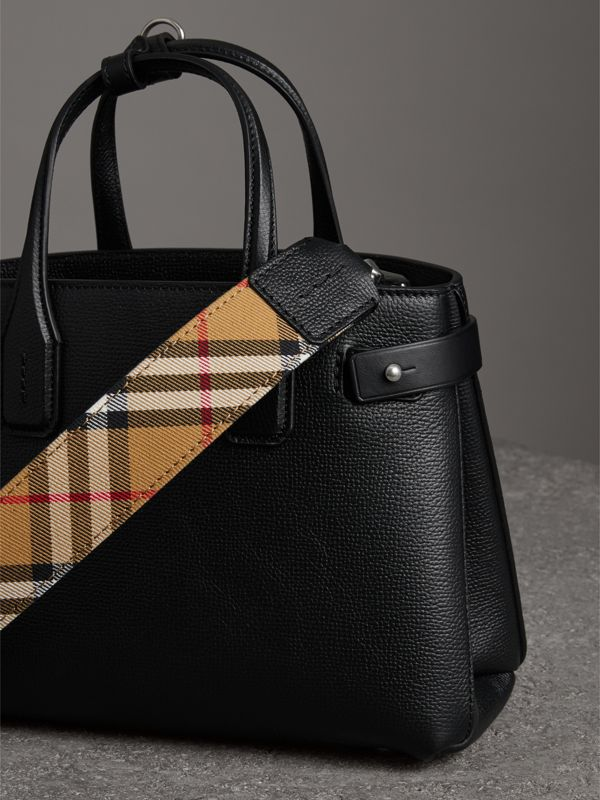 The Small Banner in Leather and Vintage Check in Black - Women | Burberry - cell image 2
