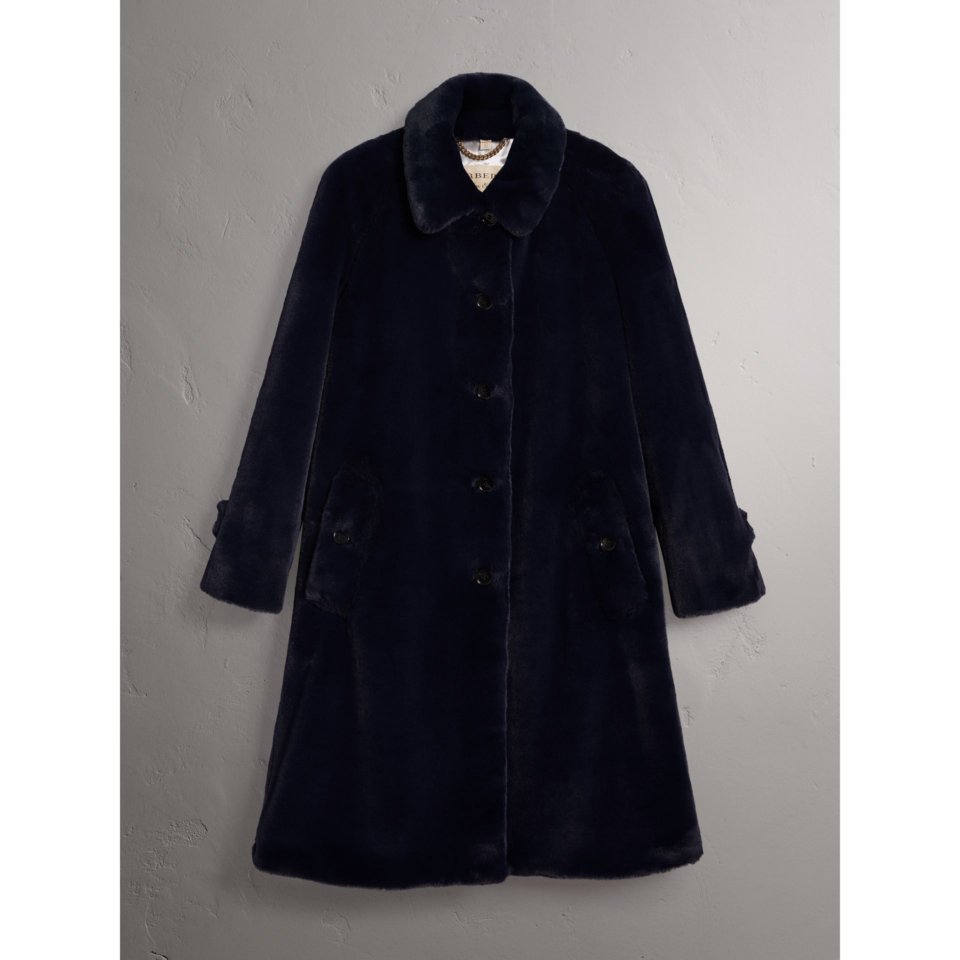 Faux Fur Single-breasted Car Coat in Navy - Women | Burberry - gallery image 4
