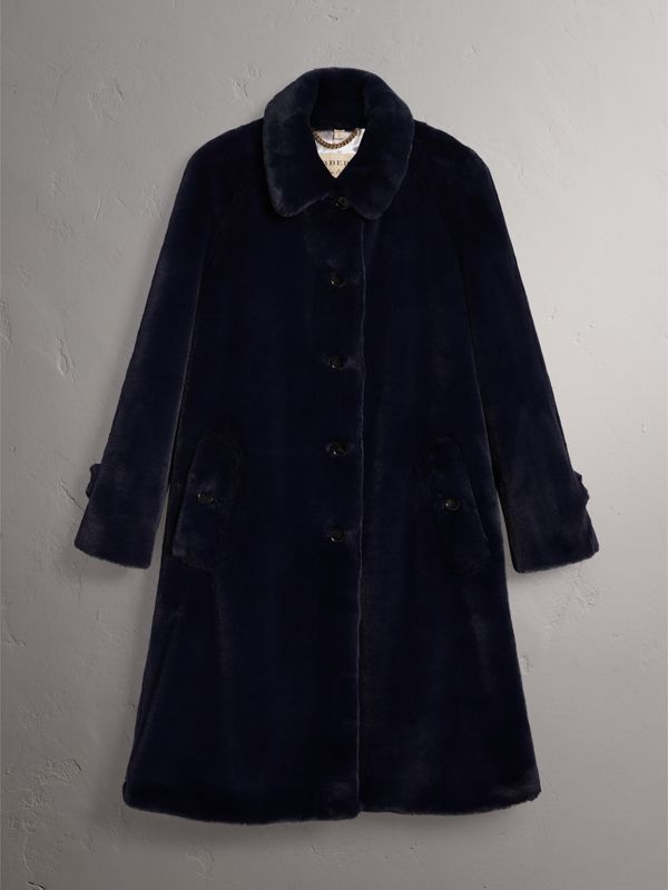Faux Fur Single-breasted Car Coat in Navy - Women | Burberry - cell image 3