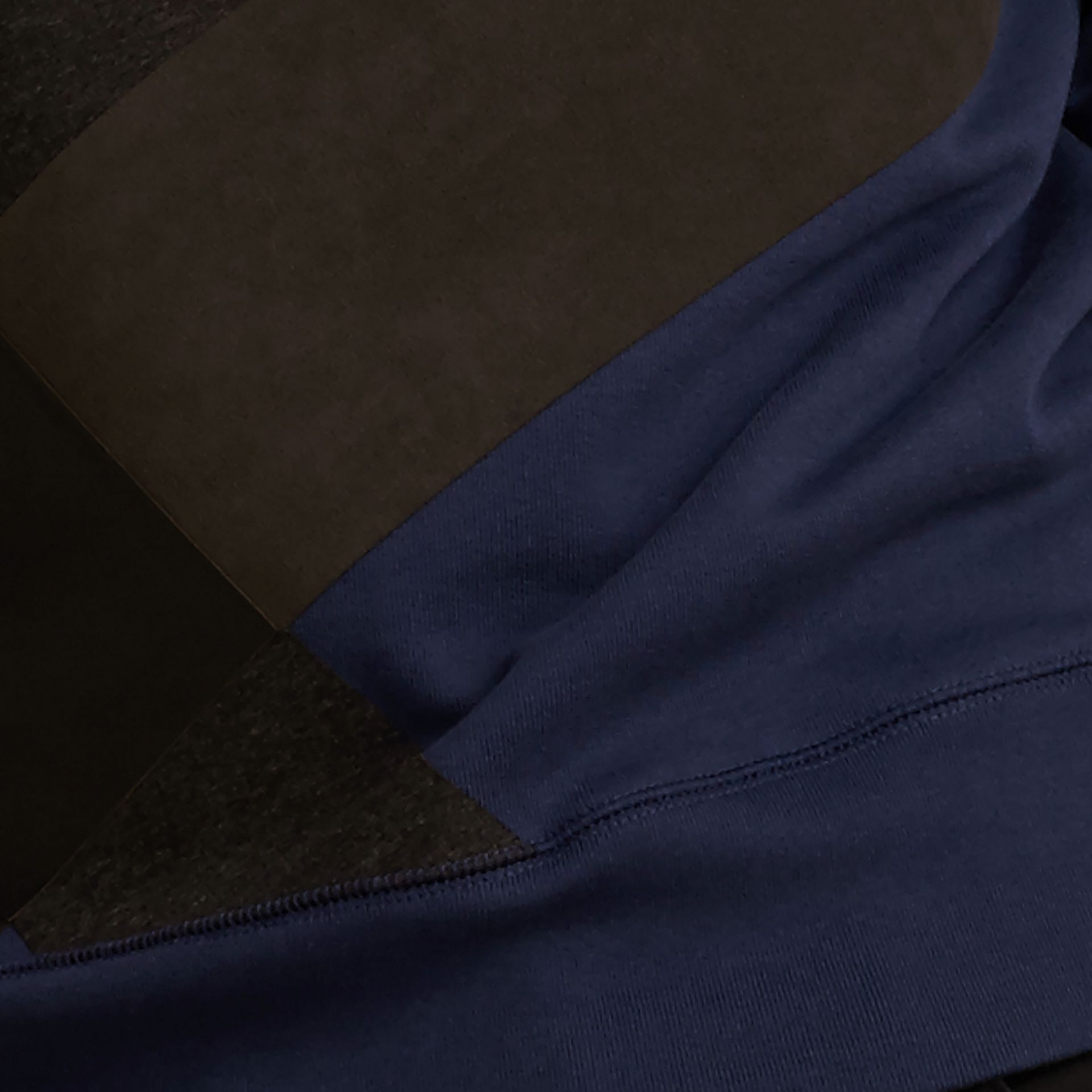Indigo Colour Block Cotton and Lambskin Sweatshirt - gallery image 2
