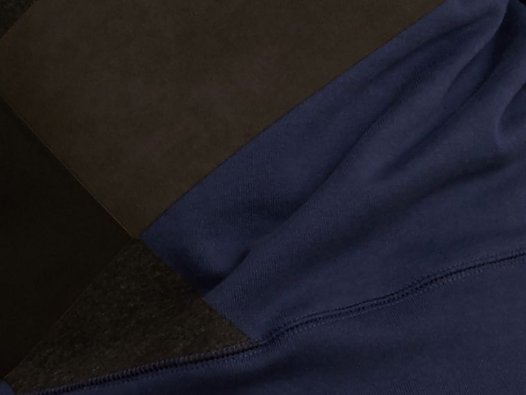 Indigo Colour Block Cotton and Lambskin Sweatshirt - cell image 1