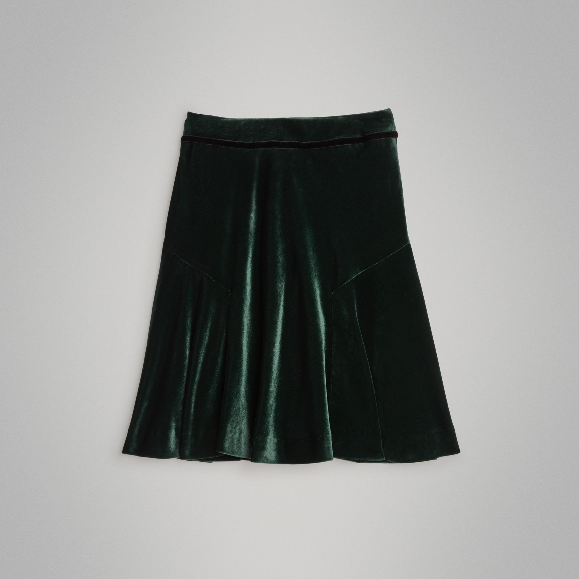 Velvet Flared Skirt in Dark Forest Green | Burberry - gallery image 3