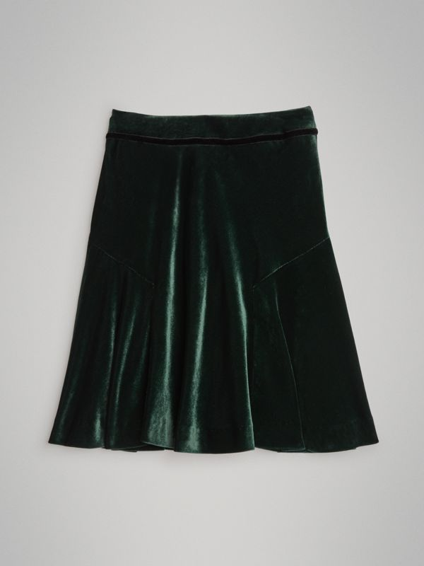 Velvet Flared Skirt in Dark Forest Green | Burberry - cell image 3