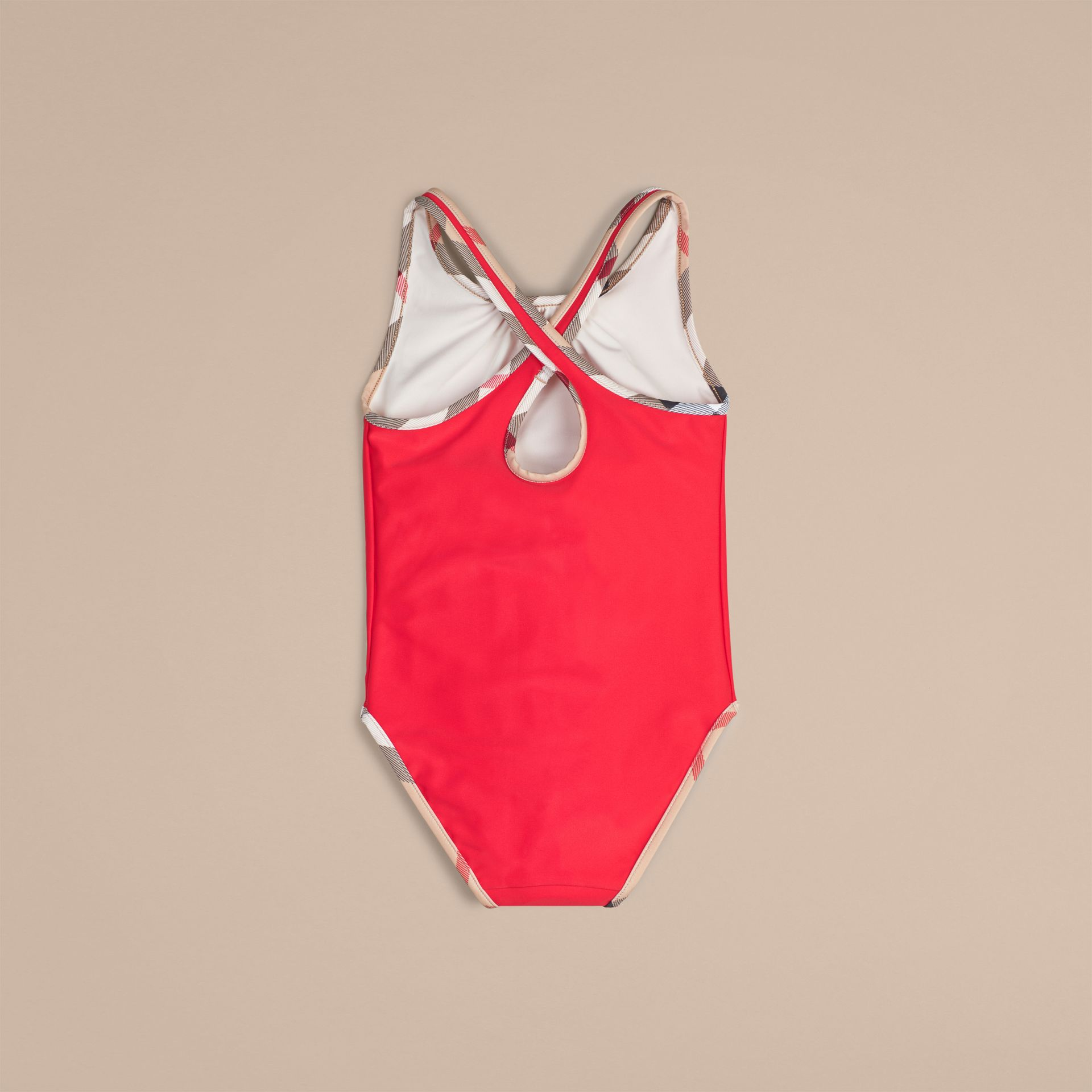 Check Detail One-piece Swimsuit in Poppy Red - Girl | Burberry - gallery image 2
