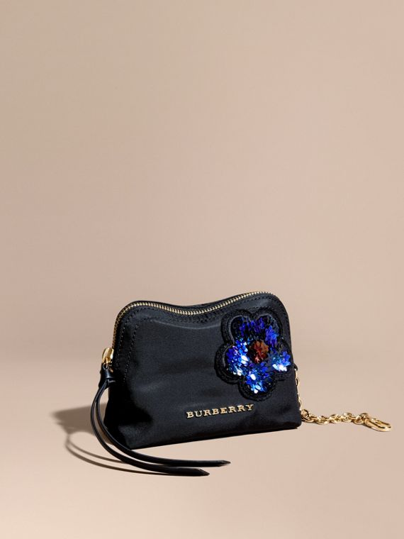 Small Zip-top Technical Pouch with Flower Embellishment